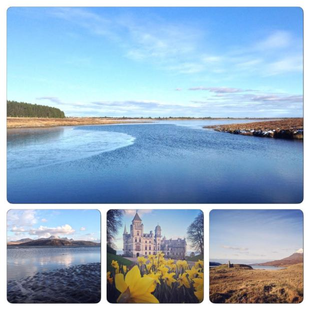 Main Image; Loch More, l-r; Ben Loyal, Dunrobin Castle, Ardvreck Castle