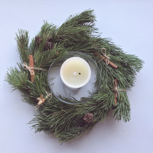 Christmas Wreath and Candles.JPG