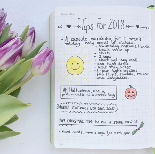 Bullet Journal Ideas 2018 - Tip Sheet